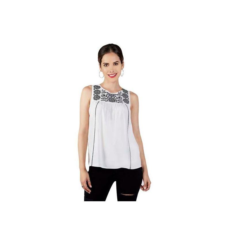 Blusa blanca bordada con tirantes 015147