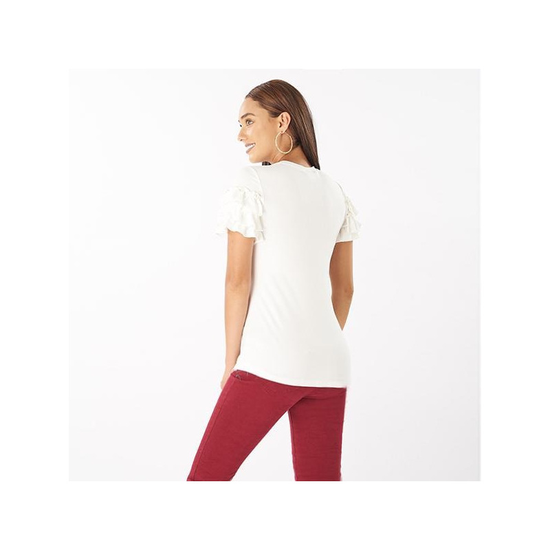 Blusa blanca estampada manga corta 014401