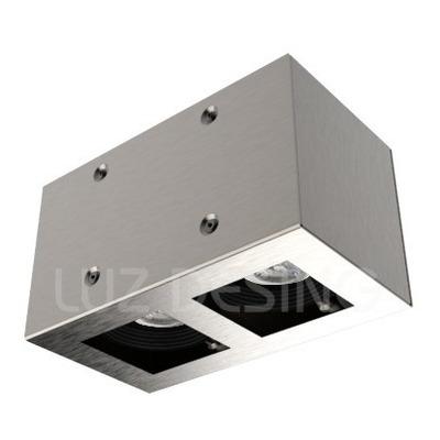 Plafon 2 Luces Con Led 7w Antideslumbrante Acero Movil