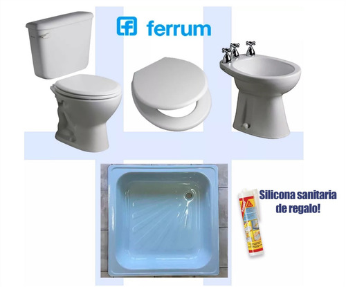 Combo Baño Completo Ferrum Andina Inod+tapa Bide Receptaculo