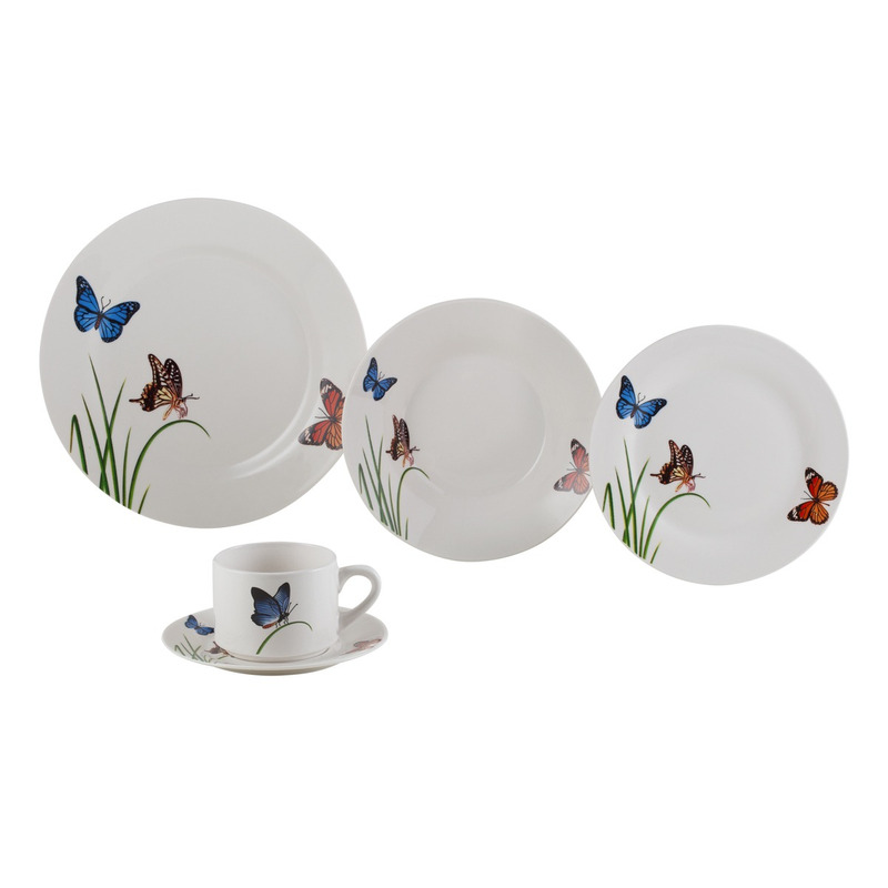 Jogo De Jantar 20 Peças Em Porcelana Butterflies - Lyor 4102137