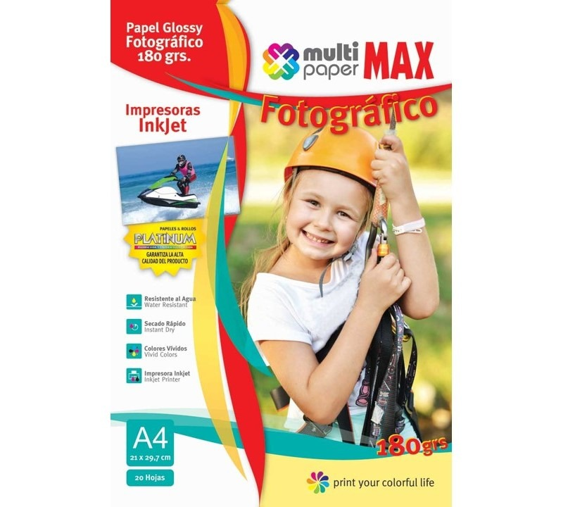Papel fotográfico p/impr  Glossy A4 180 grs x 20hojas