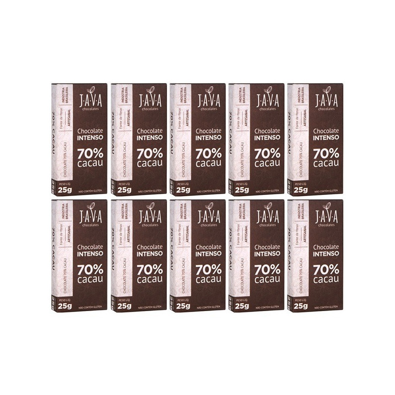 Chocolate Intenso 70% Cacau - Cx.10x25g - Java