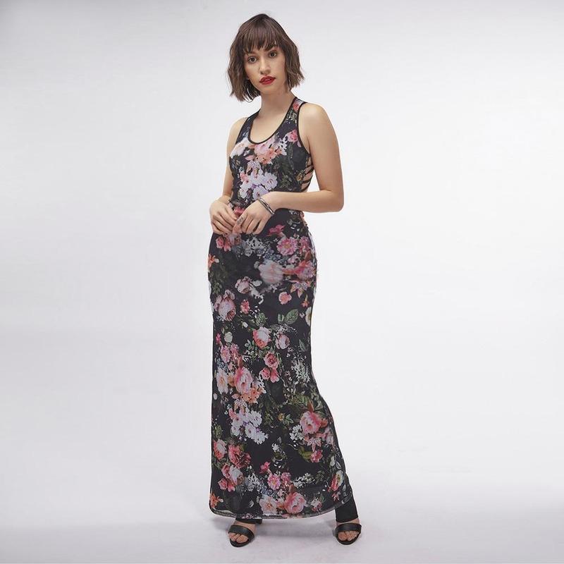 Vestido Negro Con Estampado Floral 019329