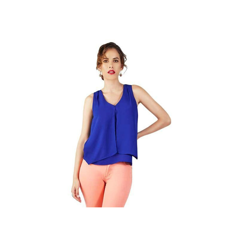 Blusa azul estampada manga corta  015418