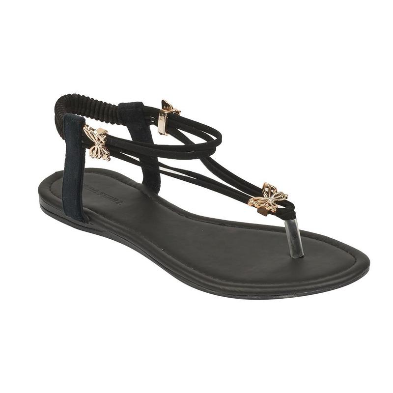Sandalia piso negra con broches 017361