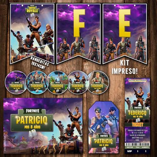 Kit Fortnite Invitaciones Banderín Stickers Tarjetas Impreso