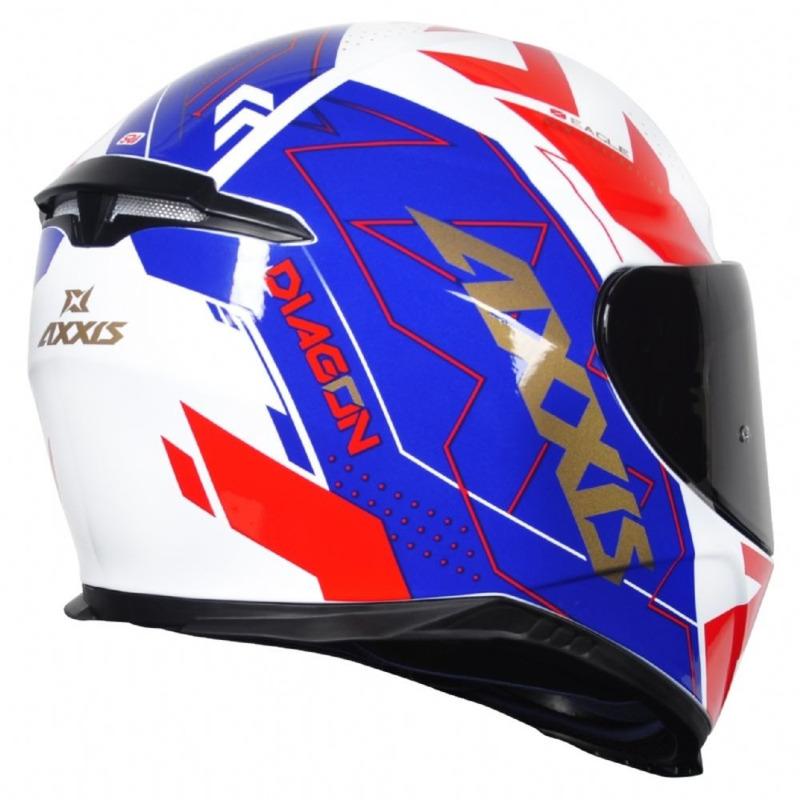 Capacete Axxis Eagle Diagon Branco Azul e Vermelho