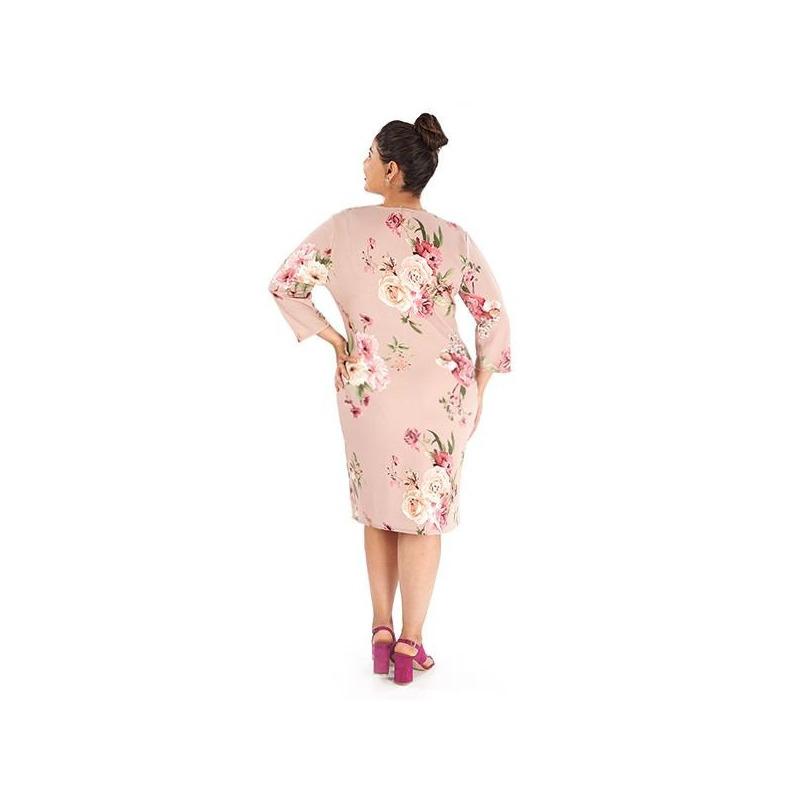 Vestido rosa estampado manga 3/4 014443P