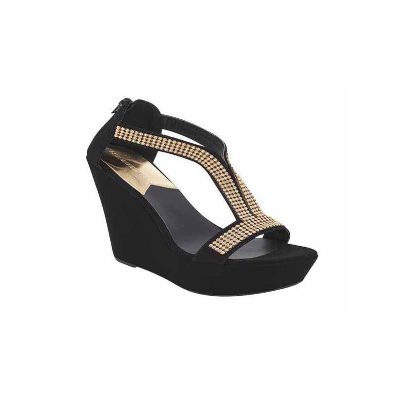 Sandalia tacón negra con pedrería 009630