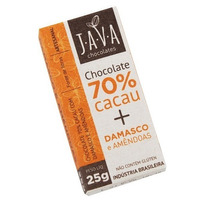 Chocolate 70% Cacau Organico Damasco com Amendoas - 25g Java