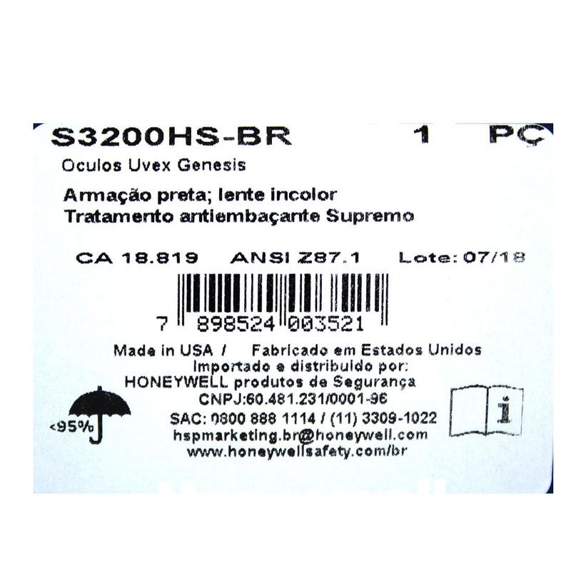 Honeywell Óculos de segurança uvex genesis Armação preta Lente ... 60a2aba858