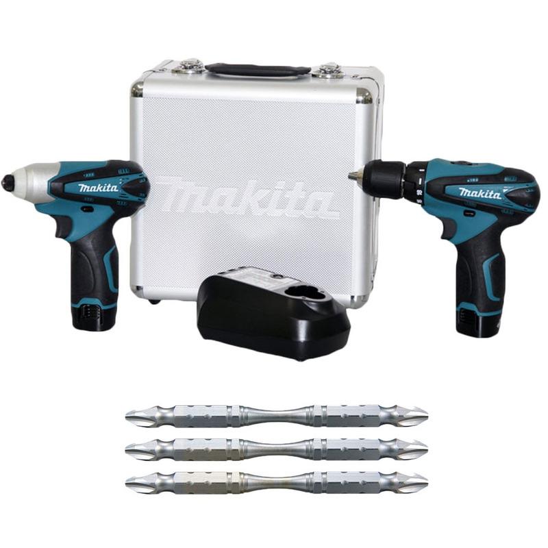 Kit - Combo Parafusadeira e Furadeira e Parafusadeira de Impacto à Bateria 12 Volts - LCT204 + Kit Bits de Torção B-12326 - Makita