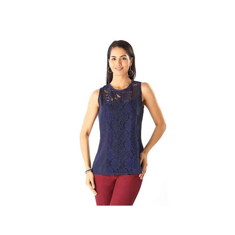 Blusa encaje azul sin manga 015500