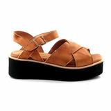 Sandalia Cuero Mujer Briganti Confort Goma Zapato Mcsd04524