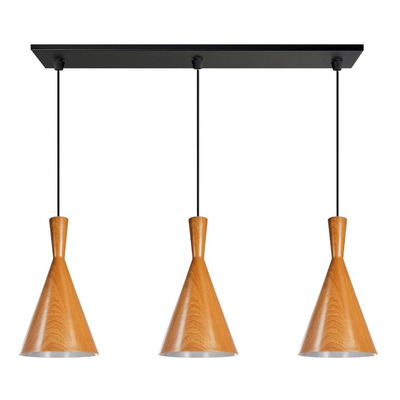 Colgante 3 Luces Simil Madera Tall Con Led Moderno Vintage
