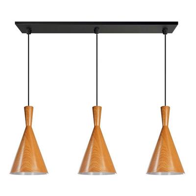 Colgante 3 Luces Simil Madera Tall Con Led Moderno Vintage