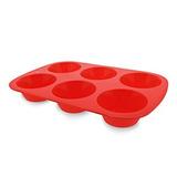 Assadeira Forma Silicone p/ 6 Muffin ou Cupcake Vermelha Mor