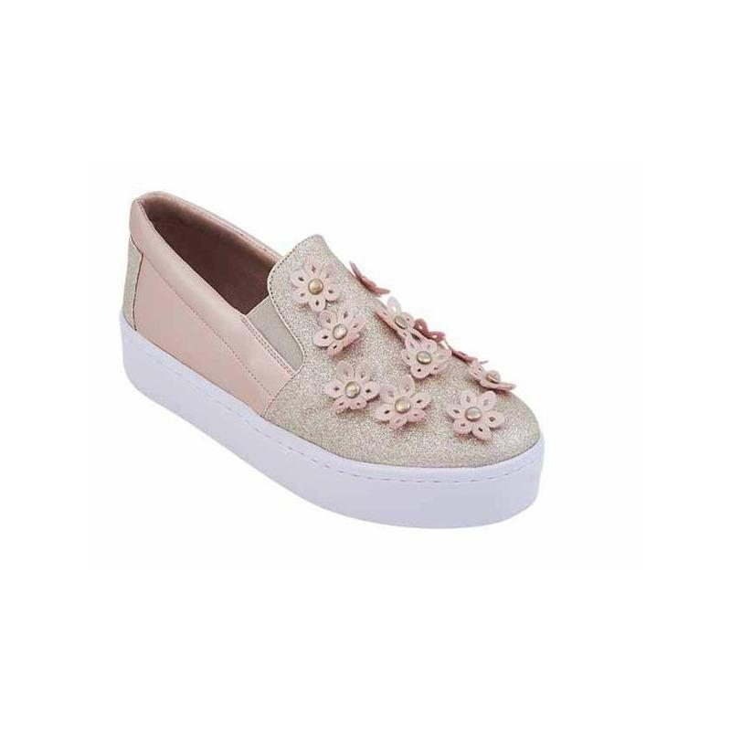 Sneakers oro rosado con flores 017499