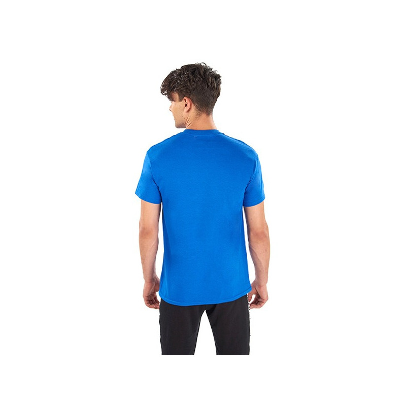 Camisa azul estampada manga corta 014631