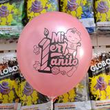 globo primer año 12 pulgadas 12 unidades rosa
