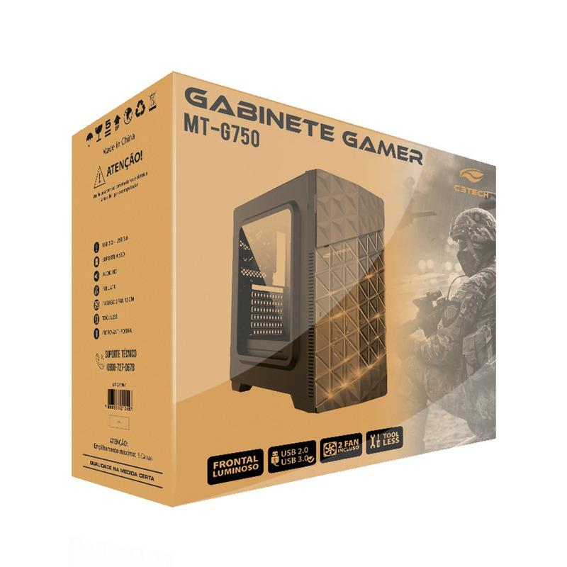 GABINETE GAME ATX SEM FONTE C3TECH PRETO  MT-G750BK