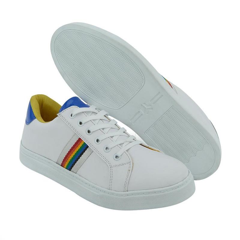 Sneakers Blancos Con Franja De Colores 017584