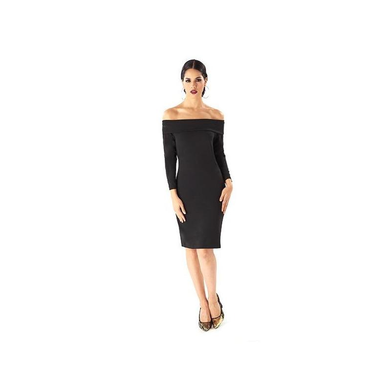 Vestido corto negro hombro caído 019234