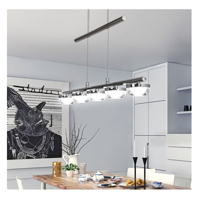 Lampara 5 Luces Led Lier Moderno Cromo Cocina Living Deco