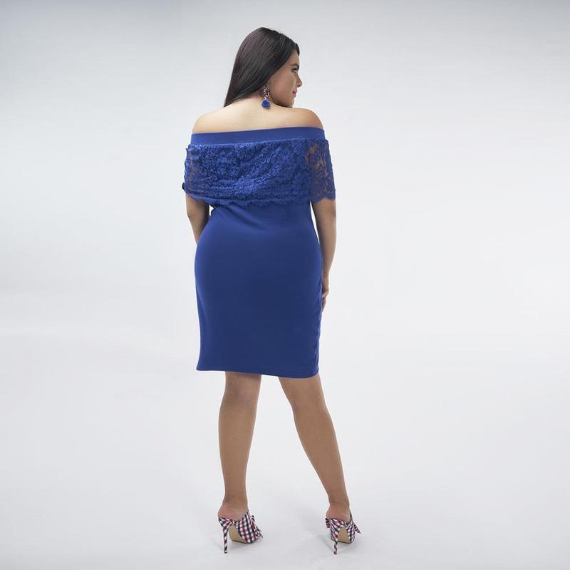 Vestido Azul Con Hombro Descubierto 017102