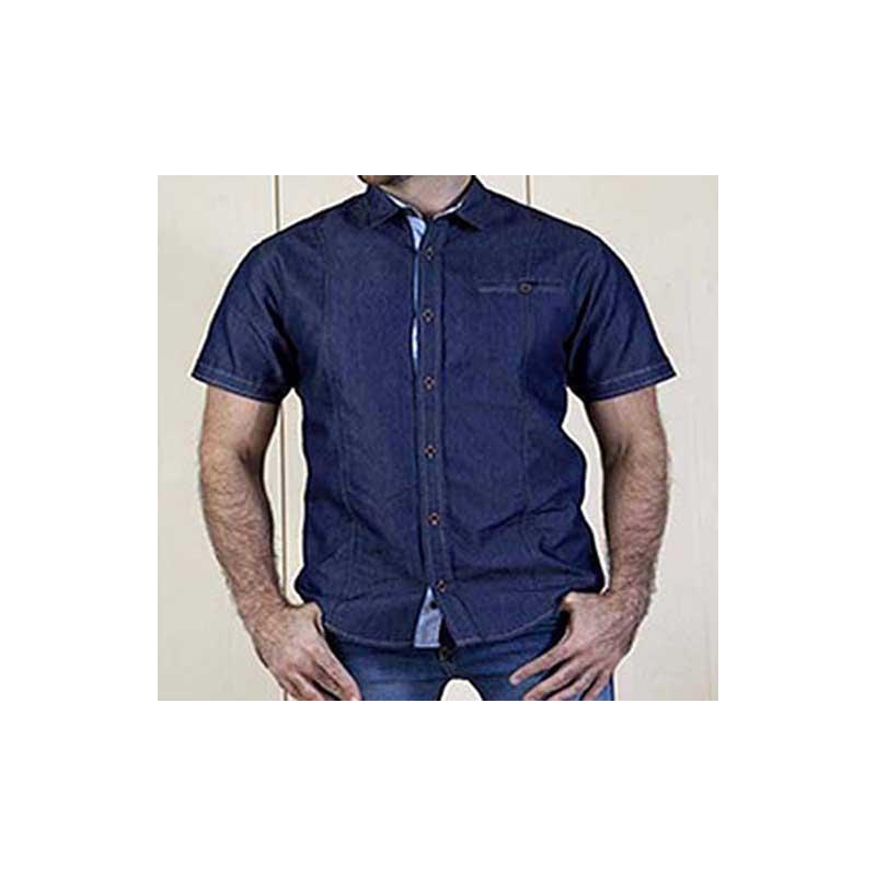 Camisa azul mezclilla manga corta 015279