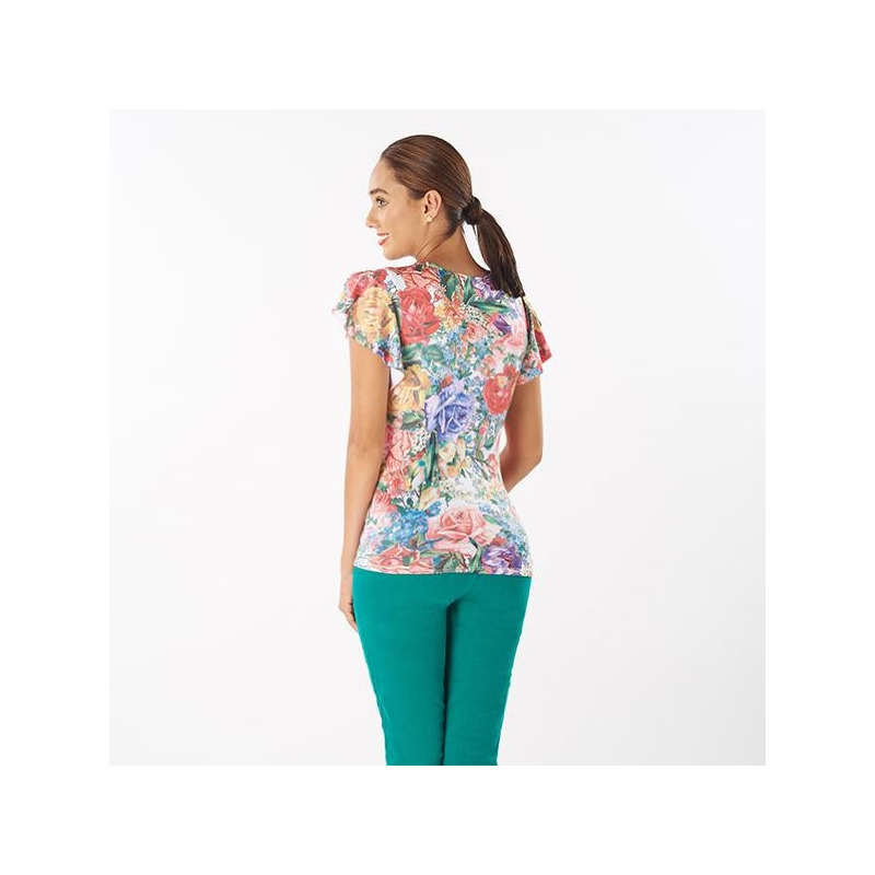 Blusa estampada manga corta 015535