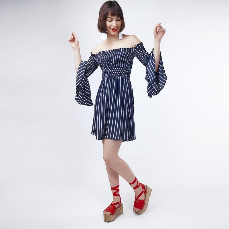 Vestido Azul Marino Con Lineas 019371