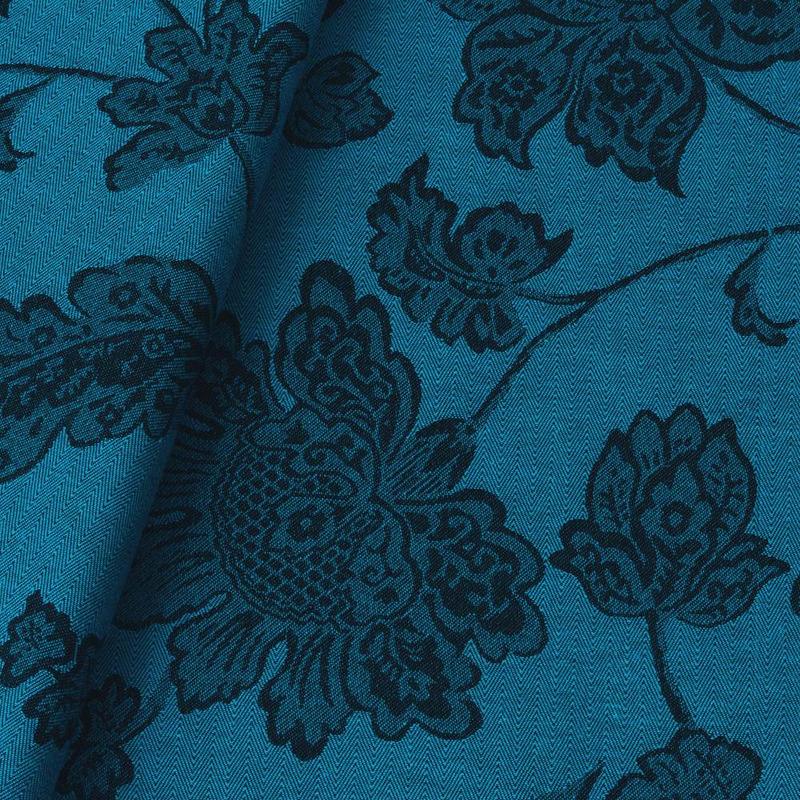 Tecido jacquard  floral em ramos - azul/marrom - Impermeável - Coleção Panamá