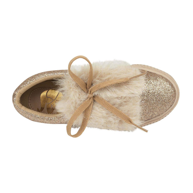 Sneakers dorados con peluche 018742