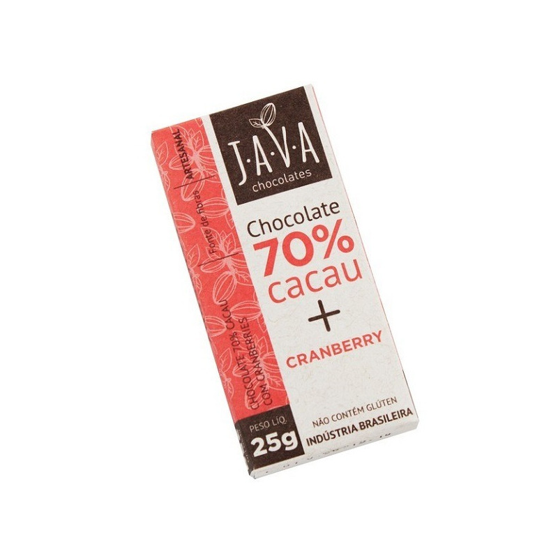 Chocolate 70% Cacau Organico com Cranberry - 25g - Java