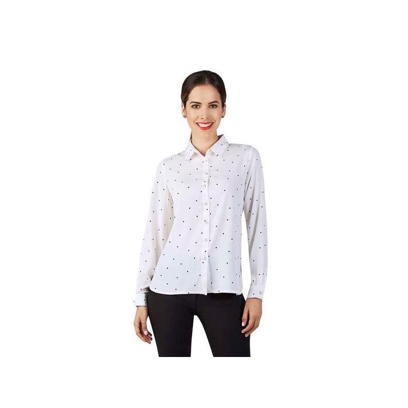Blusa blanca con botonadura estampada 015135