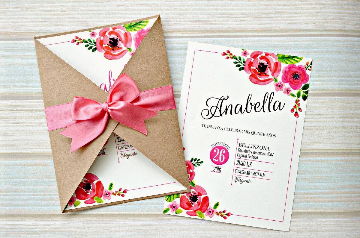 Invitación 15 años TQ051 (Floral chic)