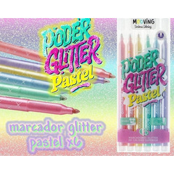 MARCADORES MOOVING GLITTER COLOR PAST...