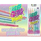 MARCADORES MOOVING GLITTER COLOR PASTEL X 6