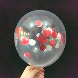 globo cristal confetti rojo y plata desinflado apto helio