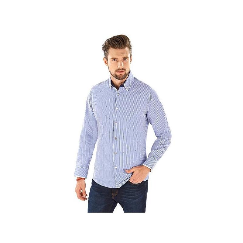 Camisa a rayas azul manga larga 015186
