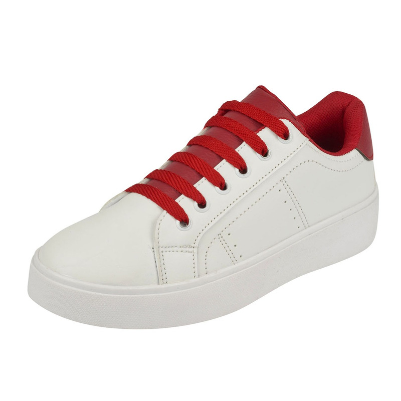 Sneakers blancos agujetas rojas 018613