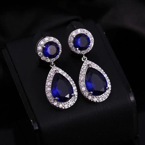 80b869d347f1 ... comprar Aros Swarovski Elements Cristal Azul Rojo Fiesta Certificado