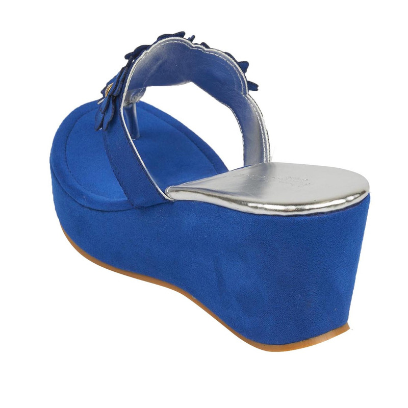 Sandalia plataforma azul estampada 016586