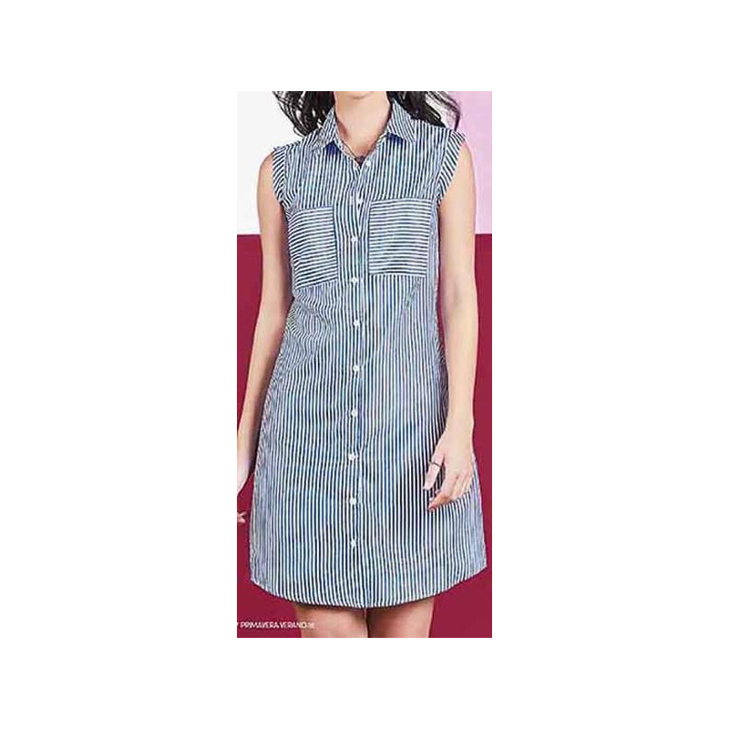 Vestido azul a rayas estampado 015209