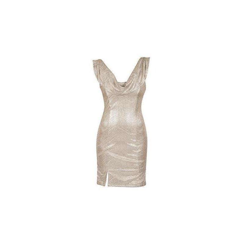 Vestido corto beige sin manga 012976