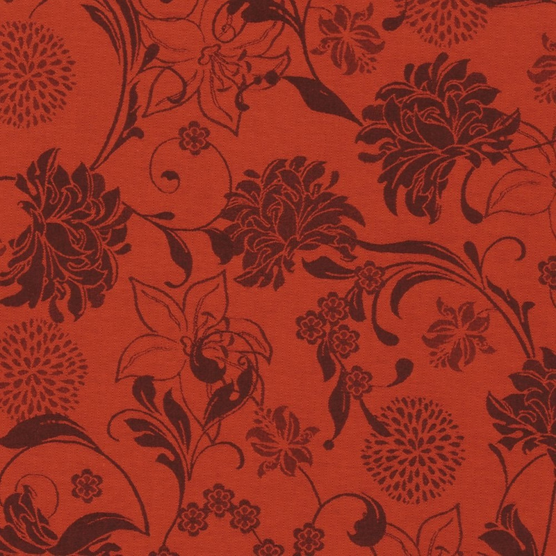 Tecido jacquard floral - laranja/marrom  Impermeável - Coleção Panamá