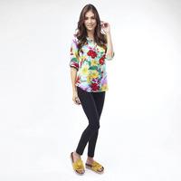 Blusa Multicolor Con Estampado Floral 017146