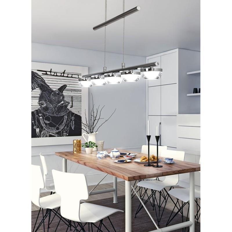 Lampara 5 Luces Led Lier Moderno Cromo Cocina Living Deco